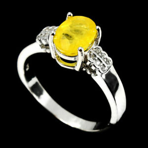 Ring Yellow Sapphire Genuine Natural Gem Sterling Silver Size N 1/2 US 7