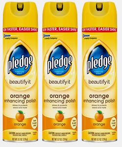 3 PLEDGE Orange Clean Furniture Polish Spray Dust Shine Protect 9.7 oz 72373 NEW