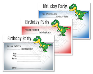 1-100 DINOSAUR BIRTHDAY PARTY INVITATIONS Cards Boys Girl Kids Invites Envelopes