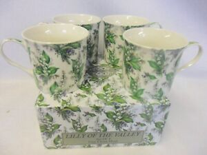Set of 4 gift boxed Lily ion the Valley design fine china palace mugs
