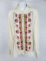 Johnny Was Workshop Ronnie Button Back Tunic Shirt Embroidered Floral Sz XL