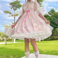 Ladies Girl Lolita Dress Kawaii Jumper Skirt Lace Cute Pleated Cosplay JSK Fairy
