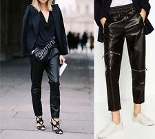 ZARA size s Faux Leather Jogging Trousers Pants Jogpants Simili Cuir Pantalon Cuir
