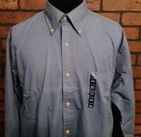 Lands End Chino Long Sleeve Shirt Size Large 16-16 1/2 Blue