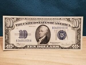 1934-C $10 Small Size Silver Certificate Note, #1704, Nice Blue Seal