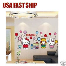 New HELLO KITTY WORLD WALL DECALS Stickers Girls Pink Bedroom Decorations