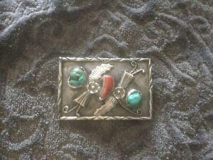 Vintage Sterling Silver, Turquoise & Coral Belt Buckle
