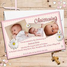10 Personalised Girls Daisy Flower Christening Baptism PHOTO Invitations N48