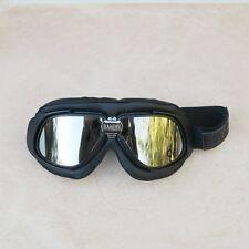 Gafas/Googles/Brille Bandit simil cuero negro con cristales espejados