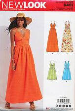 NEW LOOK SEWING PATTERN 6491 MISSES SZ 10-22 DRESSES & MAXIS W/ BODICE VARIATION