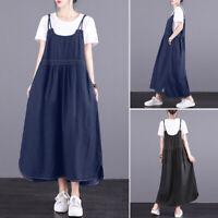 Women Strappy Slip Dress Denim Blue Asymmetrical Hem Shirt Dress Midi Dress Plus