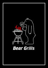 2 Pack black cotton tea towels contains 1 x Bear Grills & 1 x BBQ rules for men