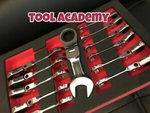 Britool Hallmark 8-19mm Short Stubby Ratchet Flexi Spanner Wrench Set In Foam