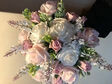Wedding Posy Bouquet White Lavender & Light Pink , White Roses & White Berries