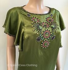 *NEW* Monsoon Green Beaded Sequin Embellished 100% Silk Dress Size 8