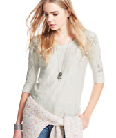 BNWT M&S Indigo Pure Cotton Boho Ivory Flower Embroidered Top Was £32.50