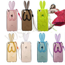 Rabbit Ears Lanyard Back Stand Case Cover for iPhone Transparent Silicone 1pc