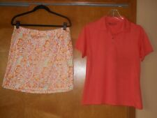 New listing Golf Outfit Greg Norman Stretch Skort & Bermuda Sands S/S Polo Shirt Top Size M