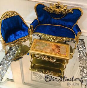 Dolls House Gold & Blue Velvet Sofa Set 1/12 Scale ,