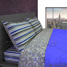 COMPLETO LENZUOLA MATRIMONIALE MADE ITALY LETTO DUE PIAZZE RIGA RIGHE BLU 4GB2