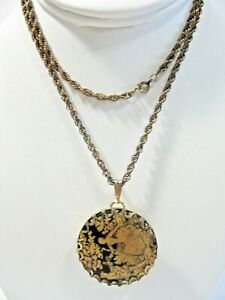 LIMOGES PENDANT LUCERNE WATCH VINTAGE NECKLACE SWISS MADE WORKING