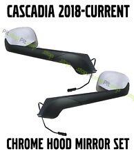 New Body Freightliner Cascadia Chrome Hood Mirror Set 2018 2019 2020 Left Right