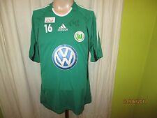 """VfL Wolfsburg ADIDAS giocatore Allenamento Maglia 10/11 """"VW"""" + N. 16 + firmato taglia M"""