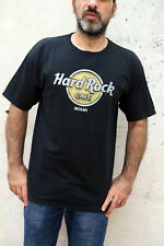 HARD ROCK Miami Florida USA CLassic Black Vintage 90s T-Shirt Mens Cotton L