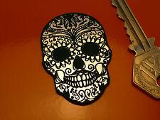 "Day of the Dead Sugar Skull Self Adhesive Car/Bike Badge 2"" Mexican Rockabilly"