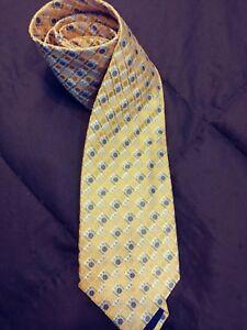 Bugatchi Uomo Mens Necktie 100% Silk Shimmery Yellow Blue Circles Italy 58 X 3.5