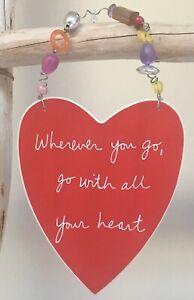 Sandra Magsamen DEPT. 56 Hanging Ceramic Red Heart Plaque Inspirational Gift