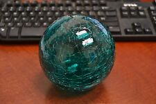 "Reproduction Turquoise Glass Float Fishing Ball With Hole 3"" F-458Ch"