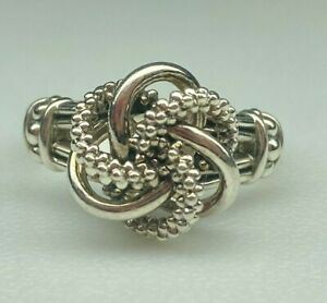 Lagos 925 Sterling Silver Love Knot Ring Size 8 Pre-Owned Free Shipping BIN