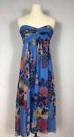 Plenty by Tracy Reese Blue Floral Print 100% Silk Strapless Dress Women's 4