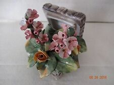 Vintage Capodimonte Pink Flower Bouquet in a Treasure Box Unusual Sculpture