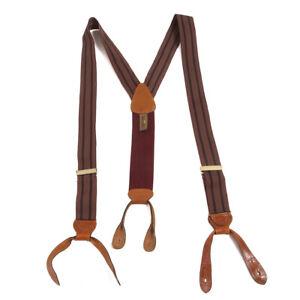 Trafalgar Muted Brick Red Berry Twin Repp Stripe Conservative Suspenders Braces
