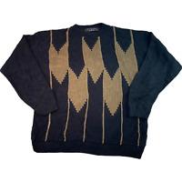 VINTAGE Protege Black Patterned Knitted Jumper Pullover Mens XL