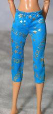 Barbie Type Fashion Doll Blue/ Aqua Hollywood Print Tights / Leggings/ Pants