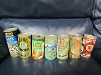 Vintage Set of 7 Robin Hood Leopard Casey BEER CAN Pull Tab TOP OPEN empty