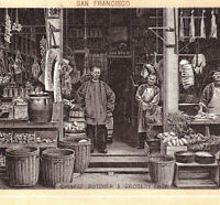 Chinatown 1890's San Franicsco California Chinese Butcher photo-lith Coffee Card