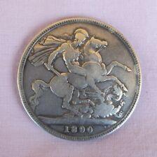 1890 GB Crown Silver Coin VG