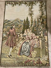 """Antique Large French Tapestry Victorian Garden Scene 39x27"""""""
