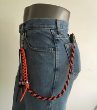 Motorcycle Get Back Biker Wallet Whip / Chain USA Made Paracord Black and Orange