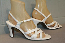 NOS 8.5 N Vintage 70s White Strappy Ankle Strap Disco Club High Heel Sandal Shoe