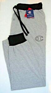 CHAMPION Men's Sleep Jogger w/Ribbed Waistband & Cuff  Grey/Black  Size Large