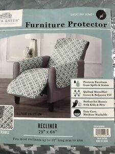 "NWP Great Bay Home Josephine Collection Reversible Recliner Cover Up To 37"" Long"