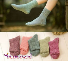 5 Pairs Women Wool Cashmere Thick Socks Winter Warm Soft Solid Casual Sports