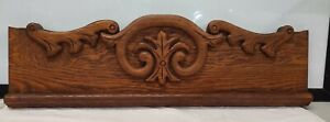 """Antique Architectural Salvage Vintage Oak Pediment Header - 27 5/8"""" long"""