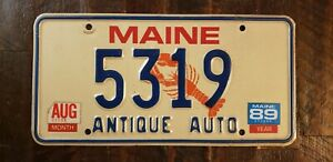 1989 MAINE ANTIQUE AUTO Lobster License Plate # 5319
