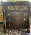 19th Century Empire Flame Mahogany Chest of Drawers.